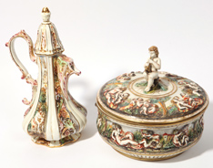 Two Pieces Capo Di Monte Porcelain