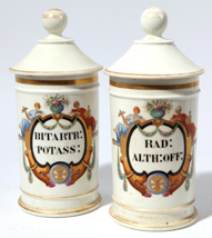 Two Porcelain Apothecary Jars