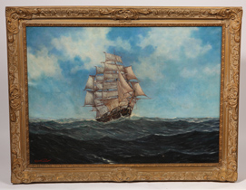 Illegibly Signed 19th Century Oil Painting of Ship