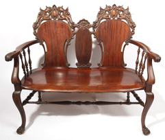 Heavily Carved Mahogany Setee With Griffins