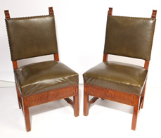 Pair Carved Oak Side Chairs