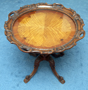 Inlaid Louis XV Style Carved Tea Table
