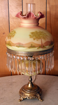Fenton Hand Painted Burmese Table Lamp