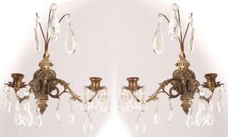 Pair Bronze & Crystal Candle Wall Sconces