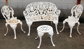 Four Piece Victorian  Cast Iron Yard Set