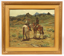 SIGNED A. GESSNER  WESTERN SCENE OIL PAINTING