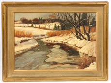 SIGNED A. GESSNER  WINTER LANDSCAPE OIL PAINTING