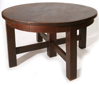 ARTS & CRAFTS ROUND EXTENSION DINING TABLE