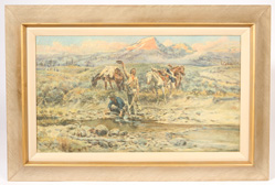 """RANCH OAK"" CHARLES M. RUSSELL  PRINT ON CANVAS"