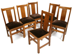 SET OF 6 ARTS & CRAFTS SIDE CHAIRS