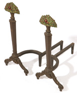 BRADLEY & HUBBARD ATTRIBUTED ARTS & CRAFTS ANDIRONS