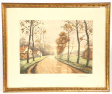 "ILLEGIBLY SIGNED COLOR LITHOGRAPH TITLED ""ROAD TO VILLAGE"""