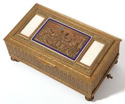 French Bronze Musical Jewel Casket