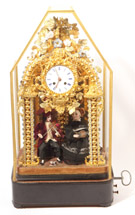 French Musical Automaton Clock Under Dome