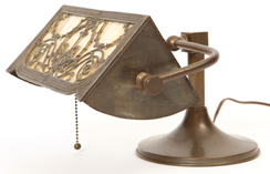 Bronzed Overlay Slag Glass Desk Lamp