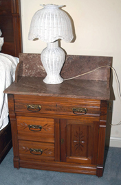 WALNUT MARBLE TOP WASHSTAND