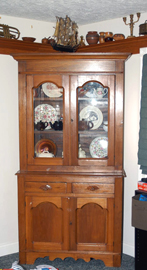 2 PC. WALNUT STEPBACK CUPBOARD