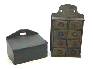 Early Blue Painted Candle Box & Spice Box