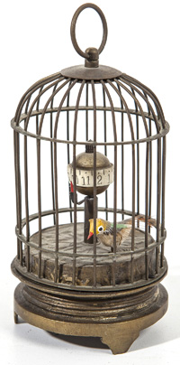 Caged Bird Rotary Dial Clock