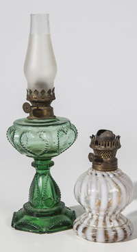 Two Miniature Oil Lamps