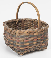 Early Multi Colored Woven Egg Basket