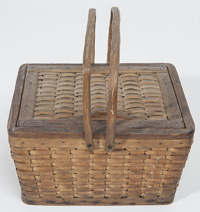 Early Woven Basket With Lid