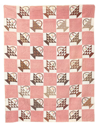 Early Trapunto Flower Basket Quilt