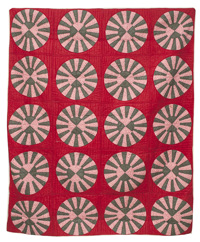 Early Wagon Wheel Pieced Quilt