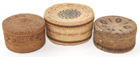 Three Tlingit Lidded Baskets