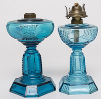 Two Picket Blue Oil Lamps