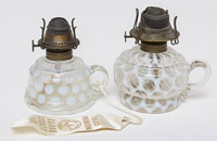 Two Opalescent Finger Lamps