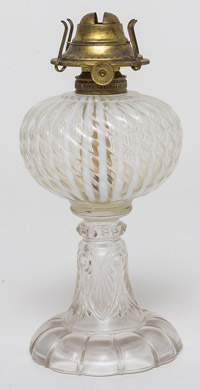 Opalescent Ribbed Oil Lamp