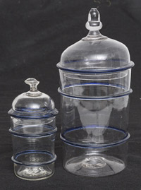 Two Blown Glass Cobalt & Clear Store Canisters