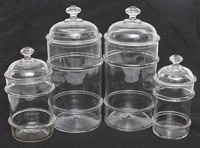 Four Blown Glass Store Canisters