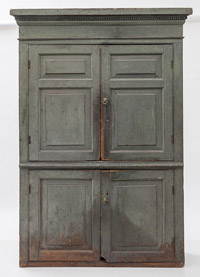 Flat Wall Cupboard in Original Blue Paint
