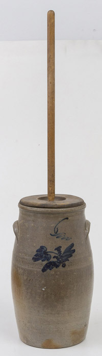 Cobalt Decorated Stoneware Churn