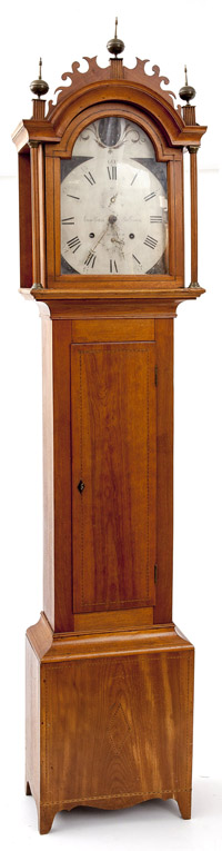 Jonathan Billings Inlaid Birch Tall Case Clock