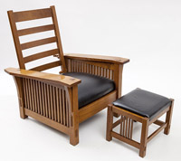 Contemporary Stickley Morris Chair & Footstool