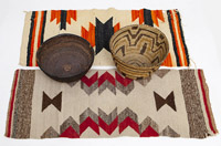 Two American Indian Baskets & Blankets