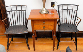 Pair of Early Windsor Armchairs & Nightstand