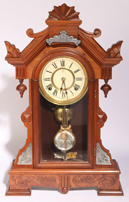 F. KROEBER WALNUT KITCHEN CLOCK