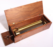 "EARLY KEY WIND 10 1/2"" CYLINDER MUSIC BOX"
