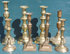 EARLY BRASS CANDLESTICKS