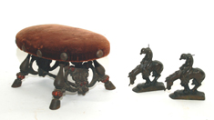 UNUSUAL CAST IRON STOOL & BOOKENDS