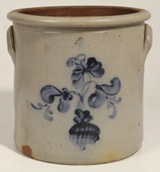Stoneware Jar With Blue Freehand Fower In Pot