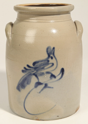 Stoneware Jar With Blue Freehand Bird Double Handled Jar