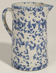Blue and White Spongeware Pitcher