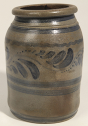 Blue Freehand Decorated Stoneware Jar