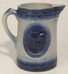 Old Blue and White Stoneware Cow Milk Pitcher