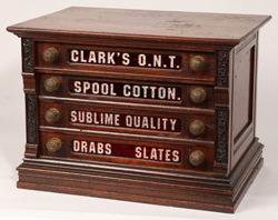 Clark's Red Glass Four Drawer Spool Cabinet